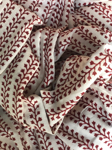 Off White 'Bagh' hand block printed saree in Cotton.