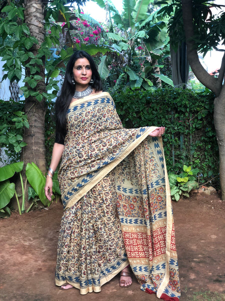 Cream 'Bagh' hand block printed saree in Cotton.