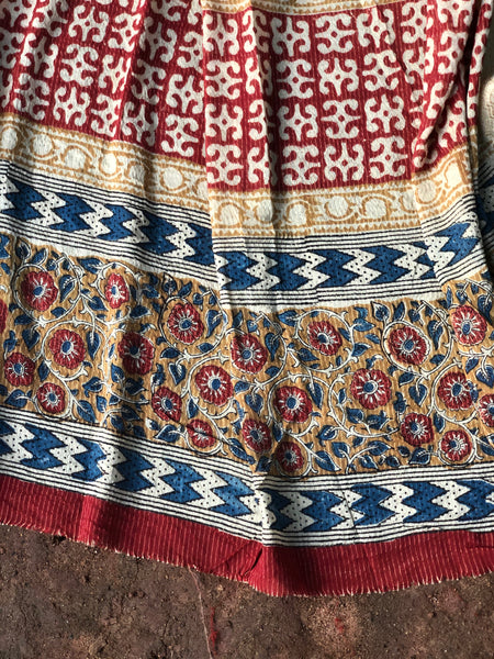 Red 'Bagh' hand block printed saree in Cotton.