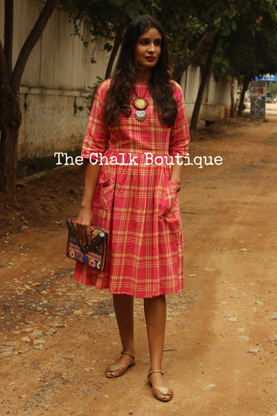 Pink Checkered Khadi cotton Midi Dress DRS0248