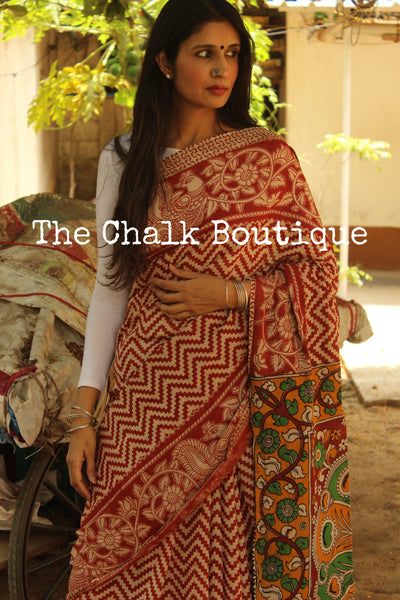 Red Zigzag kalamkari cotton saree with peacock border and contrast pallu. TCB-KAL3-P14