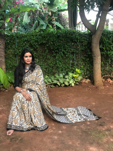 { Anar } Floral Cream 'Bagh' hand block printed saree in Cotton.