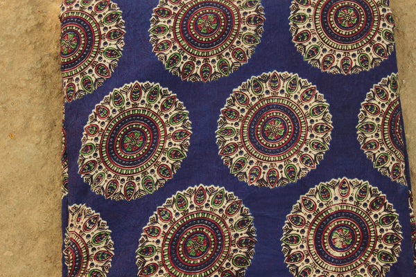 Blue Kalamkari cotton running  fabric. TCB-DFAB3-P14