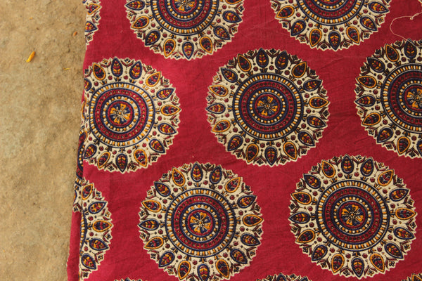 Deep Pink  Kalamkari cotton running  fabric. TCB-DFAB4-P14