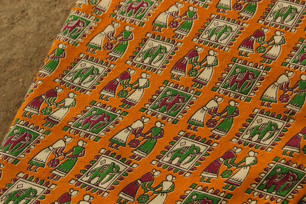 Mustard Tribal Kalamkari cotton running  fabric. TCB-DFAB5-P14