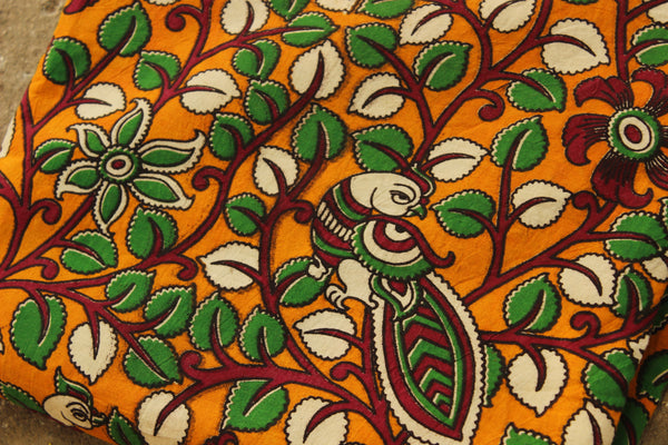 Mustard Kalamkari cotton running  fabric. TCB-DFAB1-P14