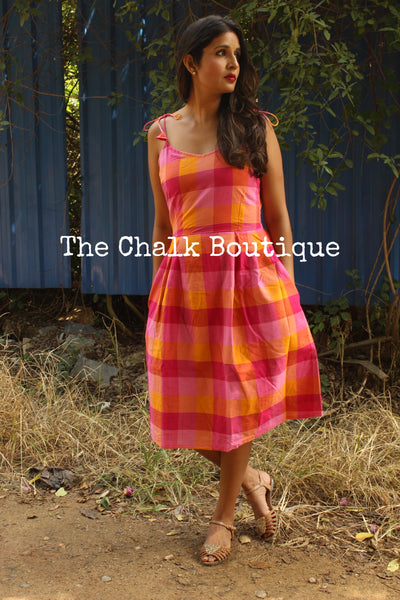 Pink Checkered Tie up Midi Dress DRS0223