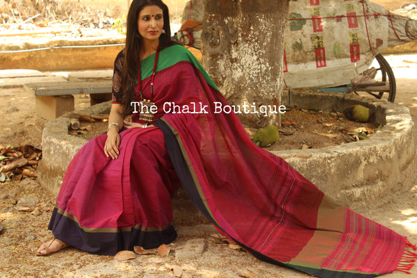 Purple 'handloom mark' handwoven begumpuri saree with dobby naksha. TCB-DN7-BG