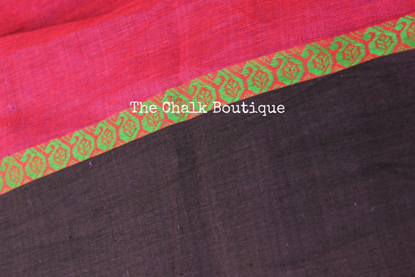 Jamuni 'handloom mark' handwoven begumpuri saree with dobby naksha. TCB-DN7-BG-The Chalk Boutique