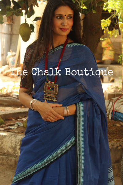 Blue 'handloom mark' handwoven begumpuri saree with dobby naksha. TCB-DN8-BG