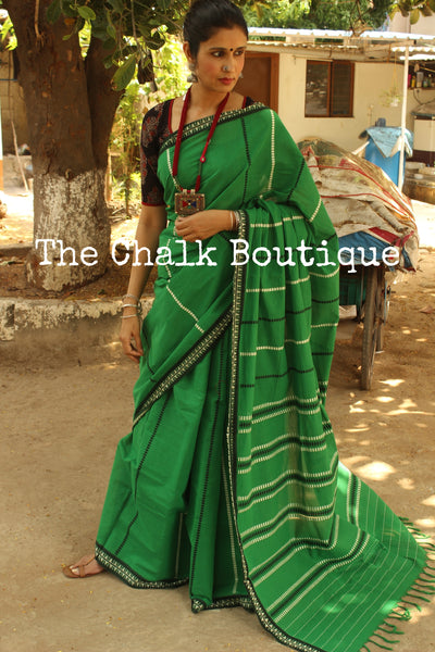 Green 'handloom mark' handwoven begumpuri saree with blouse fabric. TCB-AA9-BG