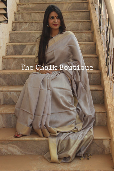Elegant Grey Pure muga silk saree with zari border. TCB-MU1-MS2