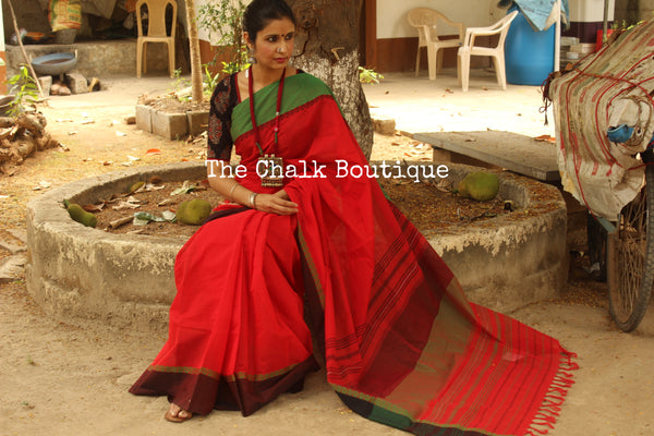 Red 'handloom mark' handwoven begumpuri saree with dobby naksha. TCB-DN9-BG