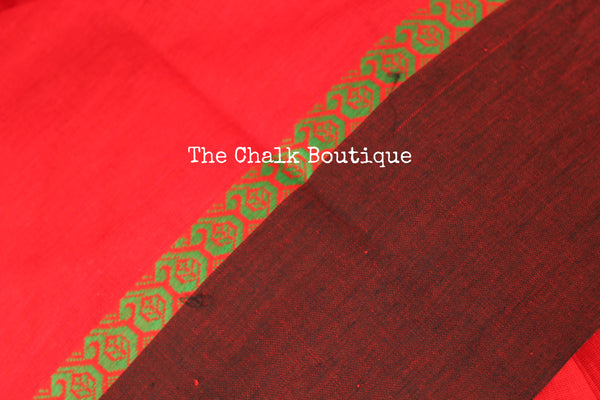 Red 'handloom mark' handwoven begumpuri saree with dobby naksha. TCB-DN9-BG-The Chalk Boutique