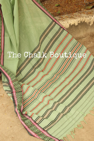 Green 'handloom mark' handwoven begumpuri saree with woven border. TCB-PB4-BG-The Chalk Boutique