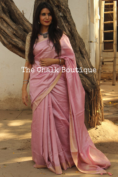 Delicate Pink Pure muga silk saree with zari border. TCB-MU5-MS2