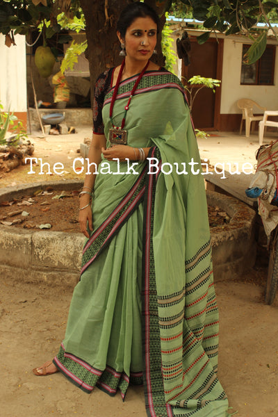 Green 'handloom mark' handwoven begumpuri saree with woven border. TCB-PB4-BG