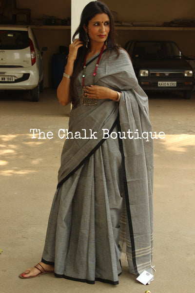 Grey 'handloom mark' handwoven begumpuri saree with thin black contrast border. TCB-PI2-BG