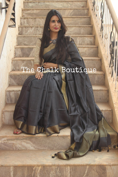 Black Pure muga silk saree with zari border. TCB-MU6-MS2