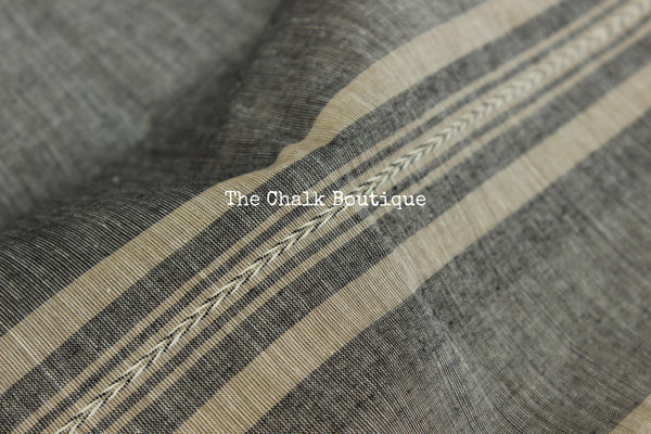 Grey 'handloom mark' handwoven begumpuri saree with thin black contrast border. TCB-PI1-BG2-The Chalk Boutique