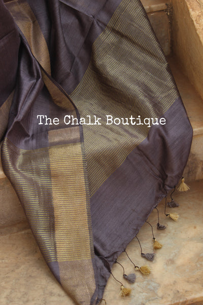 Steel Grey Pure muga silk saree with zari border. TCB-MU7-MS2