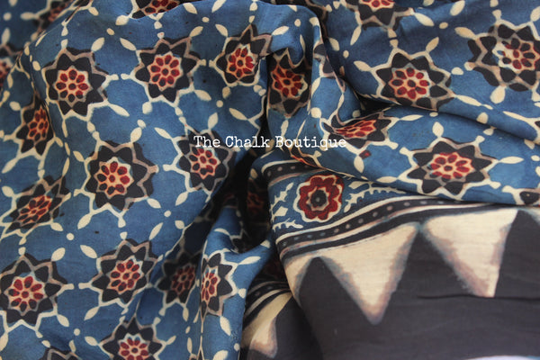 Indigo Modal silk vegetable dyed Ajrakh dupatta. KCH-DUP2-C17