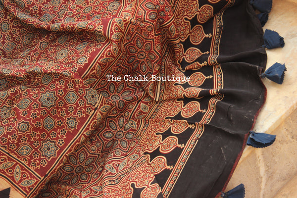 Black and Red Modal silk vegetable dyed Ajrakh dupatta. KCH-DUP1-C17