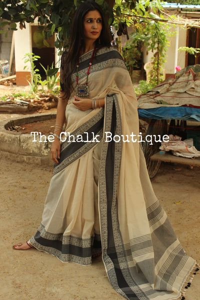 eccf480324 Soft and Light weight Beige pure handloom cotton saree with woven borders.  TCB-AD1