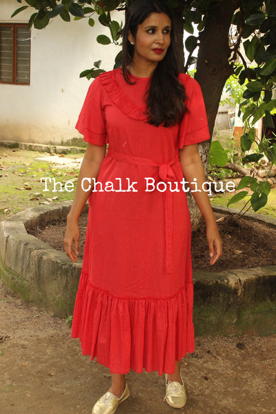"Red ""Tulip"" Dress GC-D-7R-The Chalk Boutique"