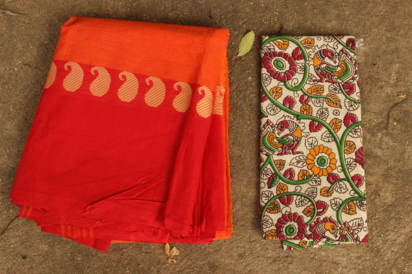 Orange Cotton Saree with contrast Woven Border.