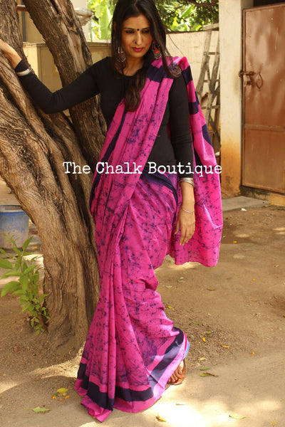 Pink Hand batik saree in mulmul cotton. SHB-22