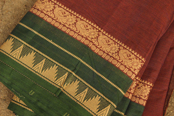 Deep Maroon Self Striped Cotton Saree.