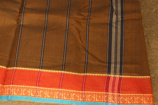 Brown Cotton Saree with contrast border.