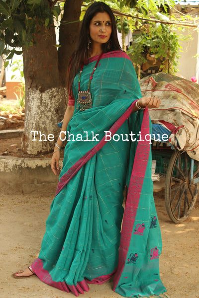 Teal  handloom cotton saree with woven fish all over and handwoven swan contrast borders. TCB-AQ1-BN