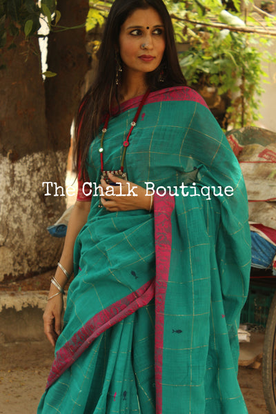 Teal handloom cotton saree with woven fish all over and handwoven swan contrast borders. TCB-AQ1-BN-The Chalk Boutique