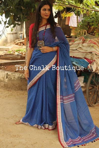 Blue handloom cotton saree with self 'shankha' woven all over and handwoven alpana pattern contrast borders. TCB-AM1-BN