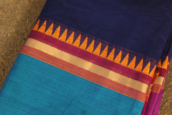Blue Cotton Saree with contrast woven border.