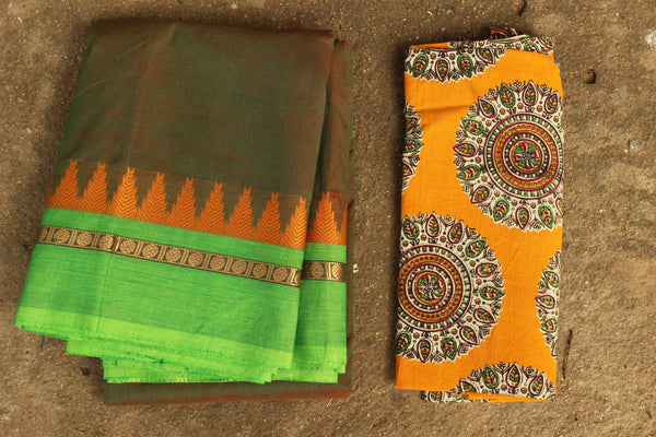 Oilve Green Cotton Saree with contrast woven border.