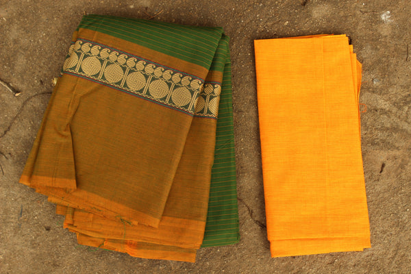 Mossy Green Striped Cotton Saree with contrast woven border.