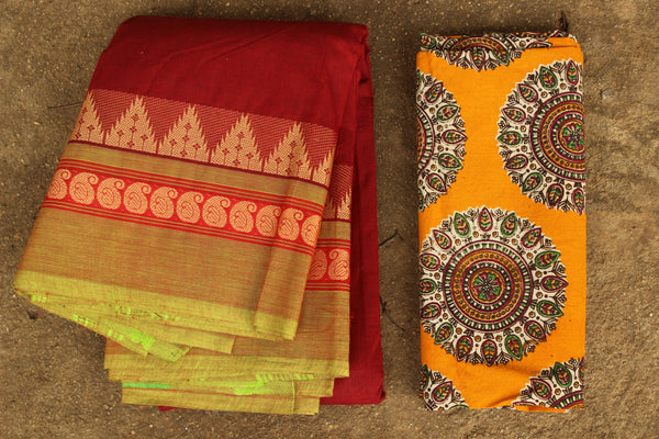 The Perfect Red Cotton Saree with contrast woven border.