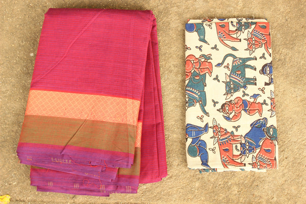 Pink Striped Cotton Saree with contrast woven border.
