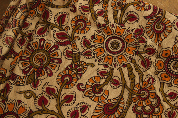 Cream Floral Cotton Kalamkari Fabric.