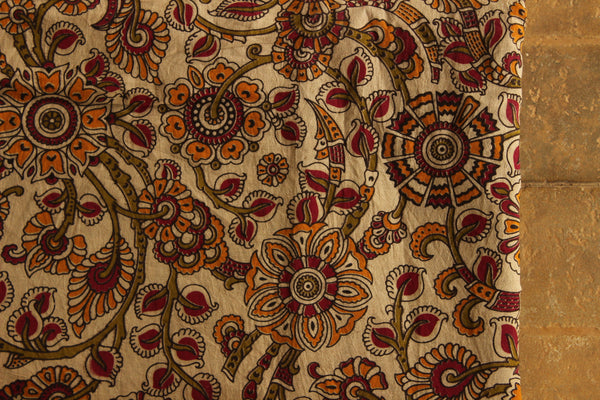 Cream Floral Cotton Kalamkari Fabric