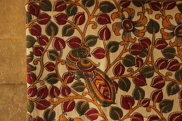 Cream Peacock Floral Cotton Kalamkari Fabric.