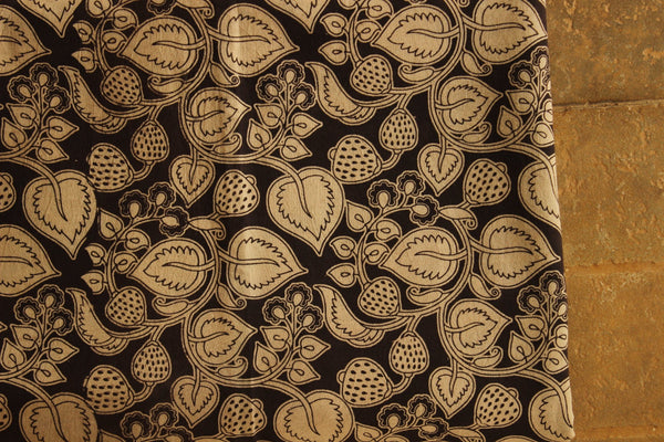 Black and White Fruity Cotton Kalamkari Fabric.