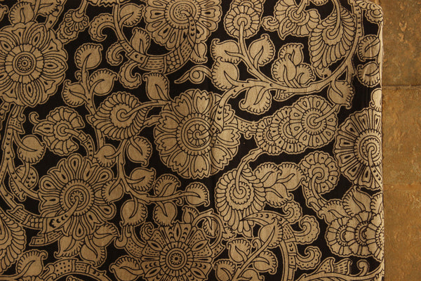 Black and White Floral Cotton Kalamkari Fabric.