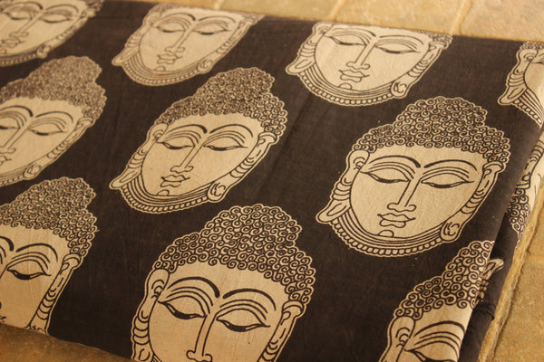 Black and White Buddha Cotton Kalamkari Fabric.