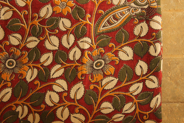 Floral Cotton Kalamkari Fabric.