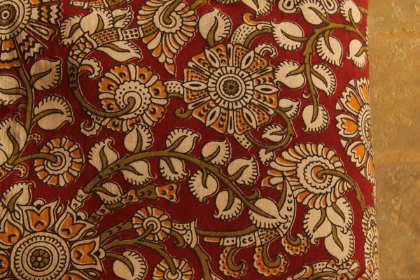 Floral red Cotton Kalamkari Fabric.