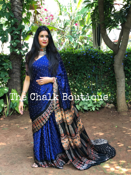 | Blue Light  | Blue vegetable dyed Ajrakh saree with bandhani in modal Silk.